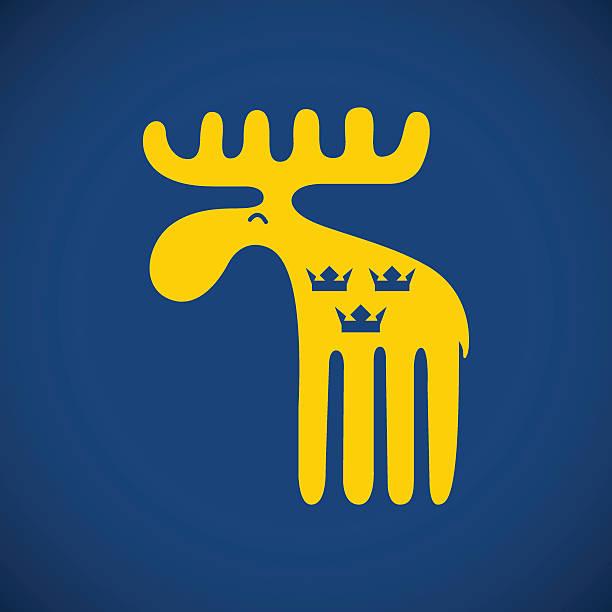 bildbanksillustrationer, clip art samt tecknat material och ikoner med vector illustration of an animal symbol of sweden yellow swedish - älg sverige