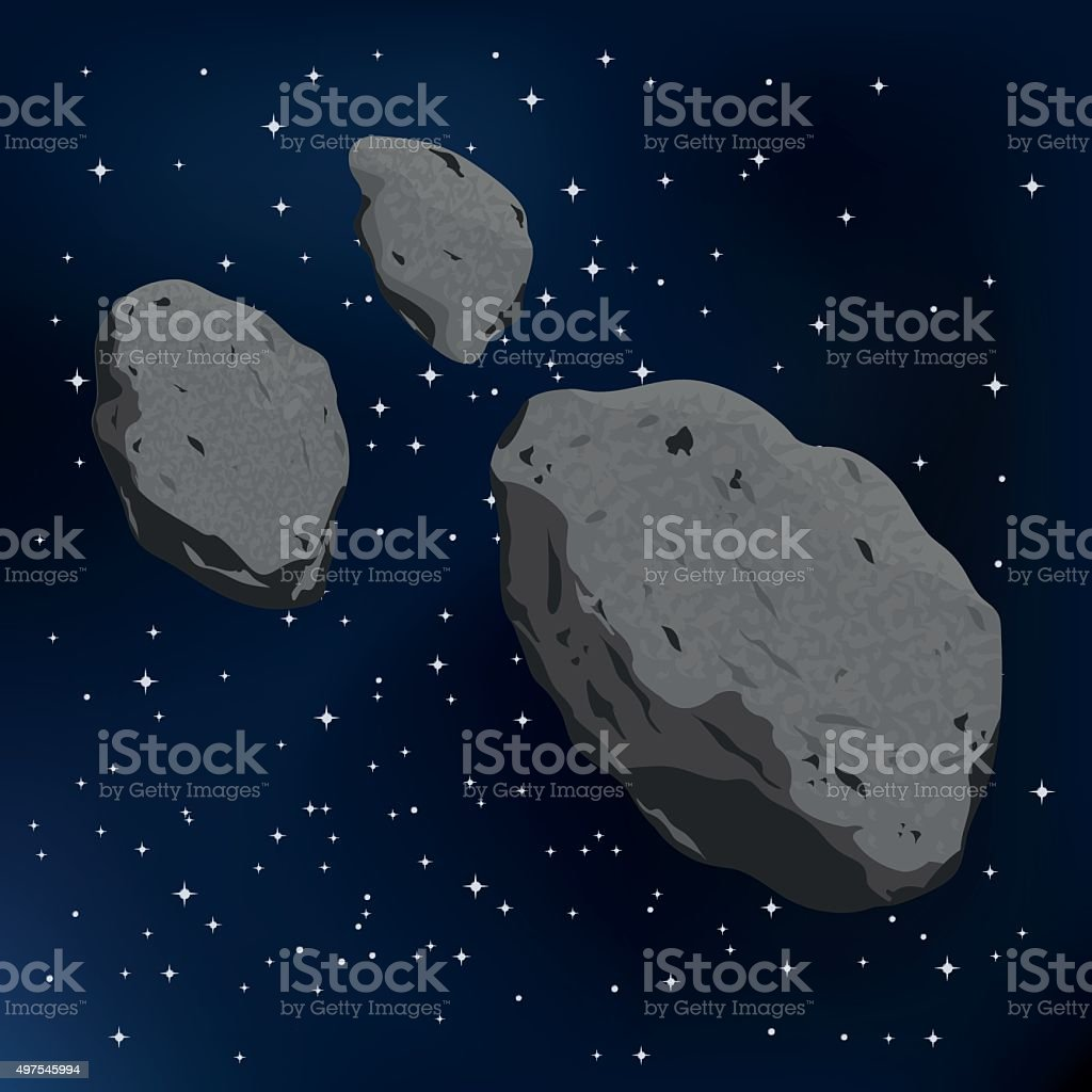vector illustration of an asteroid and meteorite vector art illustration