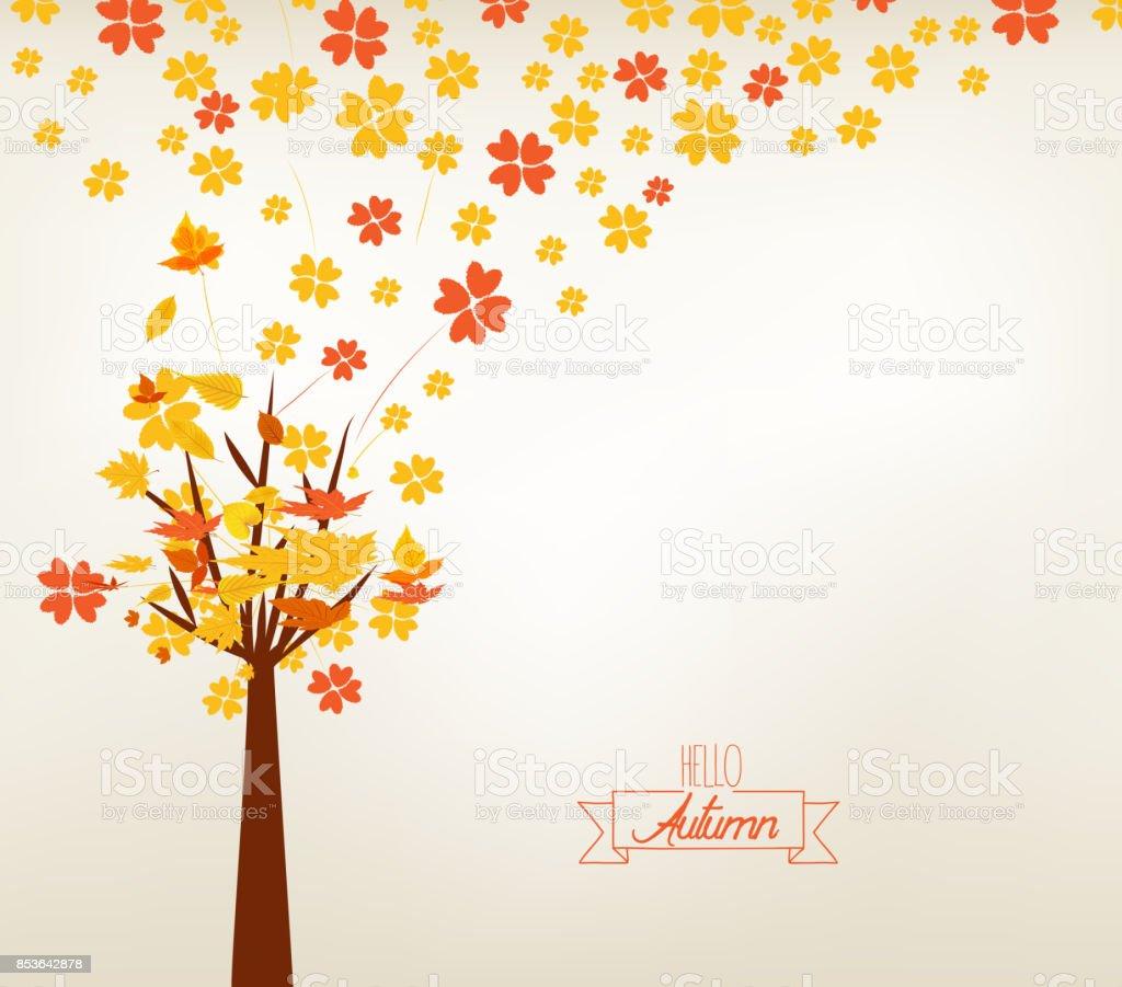 秋デザインのベクター イラストです秋のツリーの背景色 - お祝いの