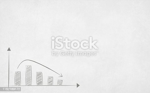 Vector illustration of an decreasing bar graph over a grunge effect white board with copy space for text - Illustration