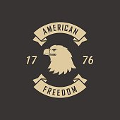 Vector illustration of an eagle and a banner with text on a black background.