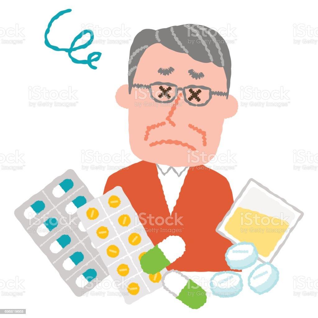 vector illustration of an elder man who are tired of many medicines vector art illustration