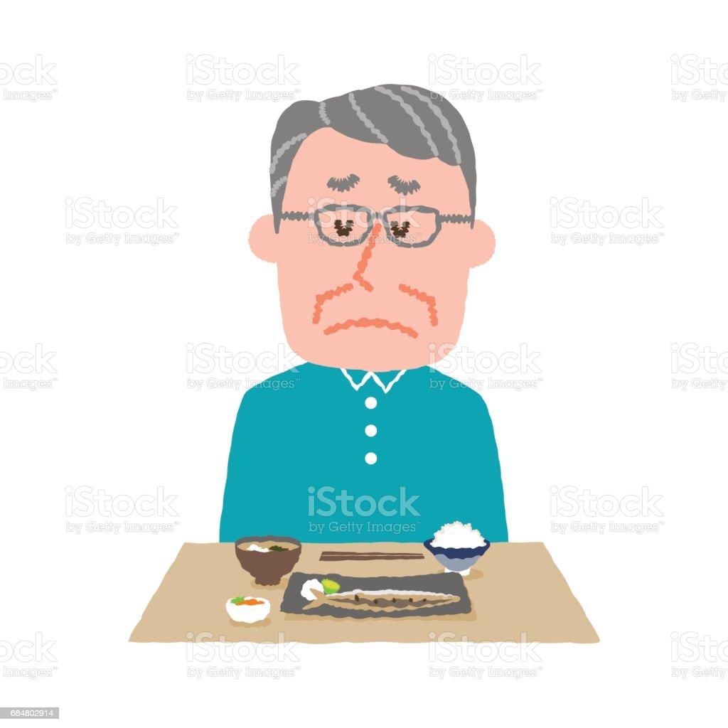 vector illustration of an elder man without appetite vector art illustration