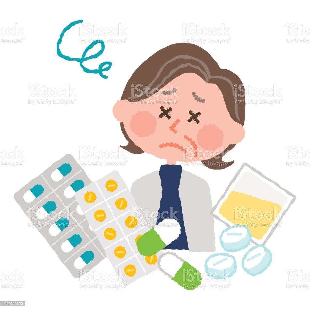 多くの医薬品のうんざりしている高齢者の女性のベクトル イラスト ベクターアートイラスト