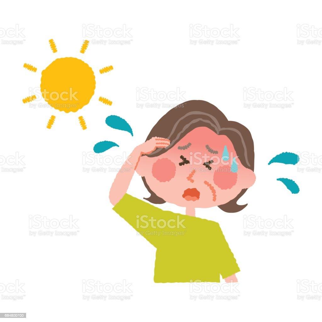 熱中症高齢者の女性のベクトル イラスト ベクターアートイラスト