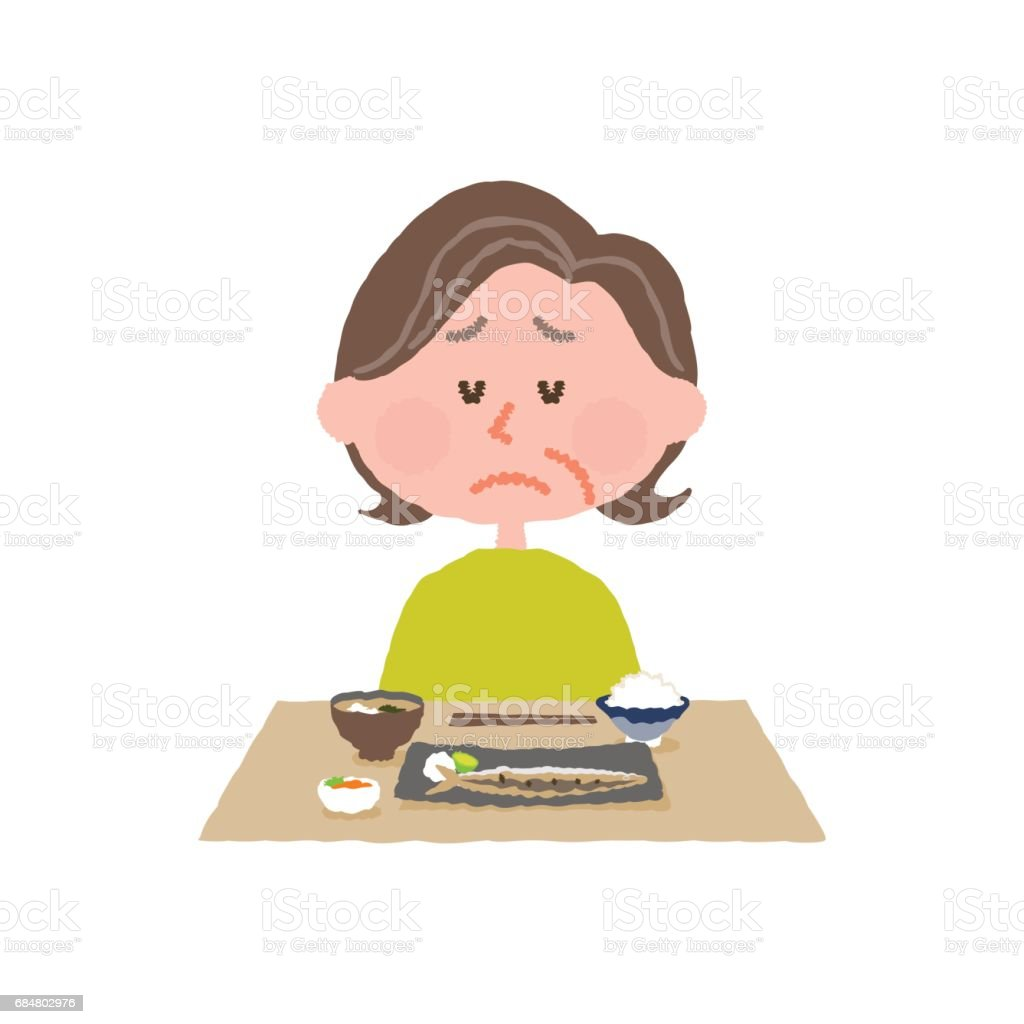 vector illustration of an elder woman without appetite vector art illustration