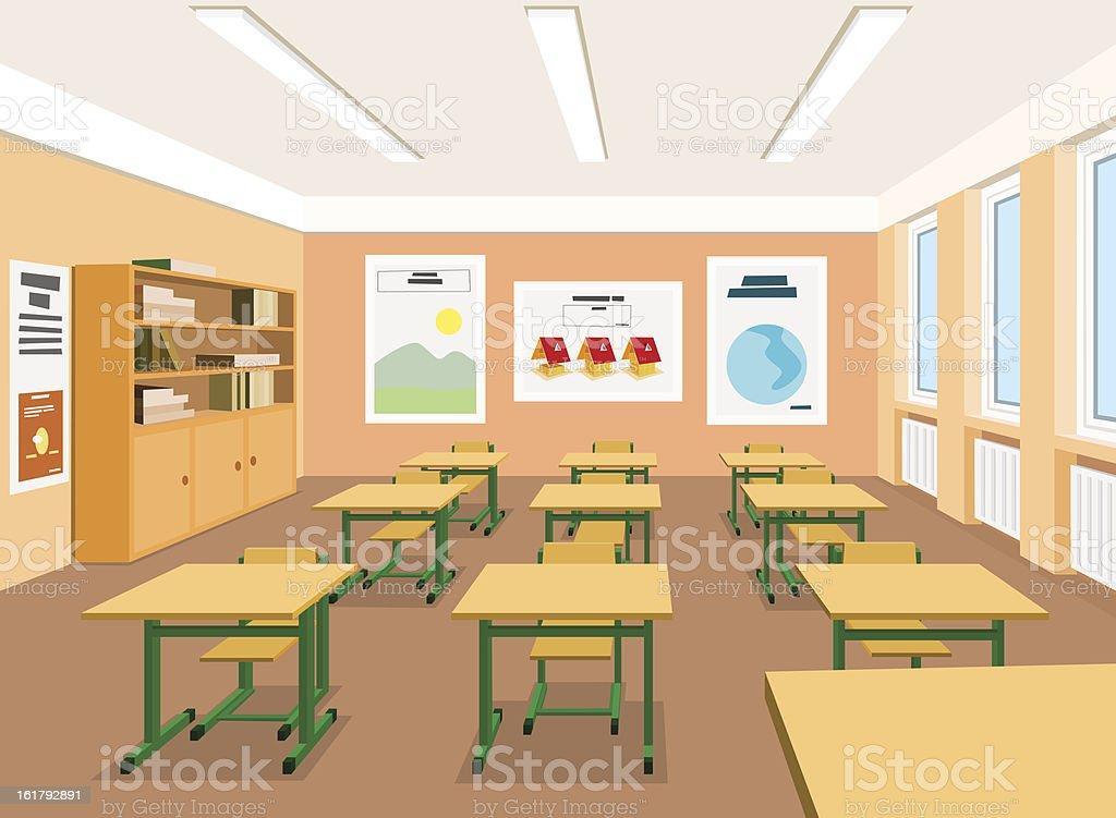Vector illustration of an empty classroom vector art illustration