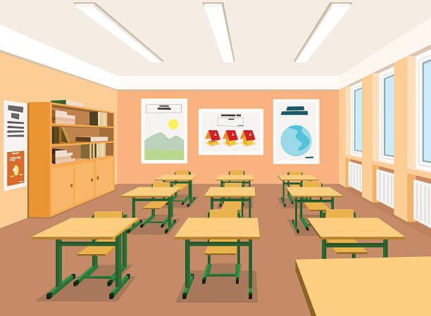 Modern Classroom Vector ~ Royalty free classroom interior clip art vector images