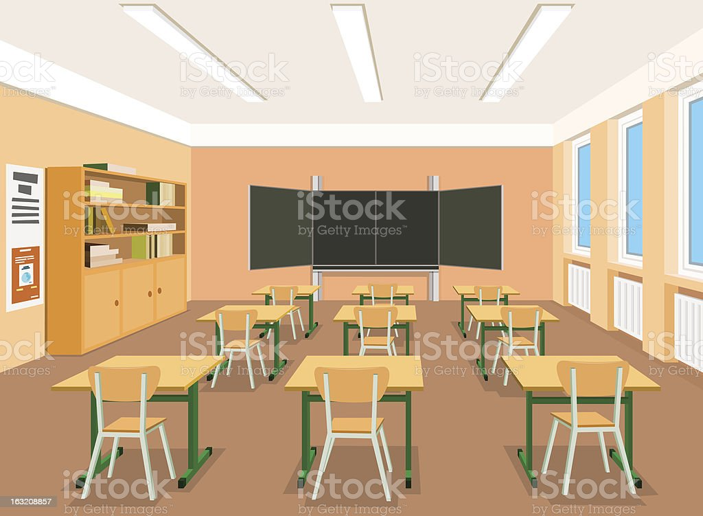Vector illustration of an empty classroom vector art illustration