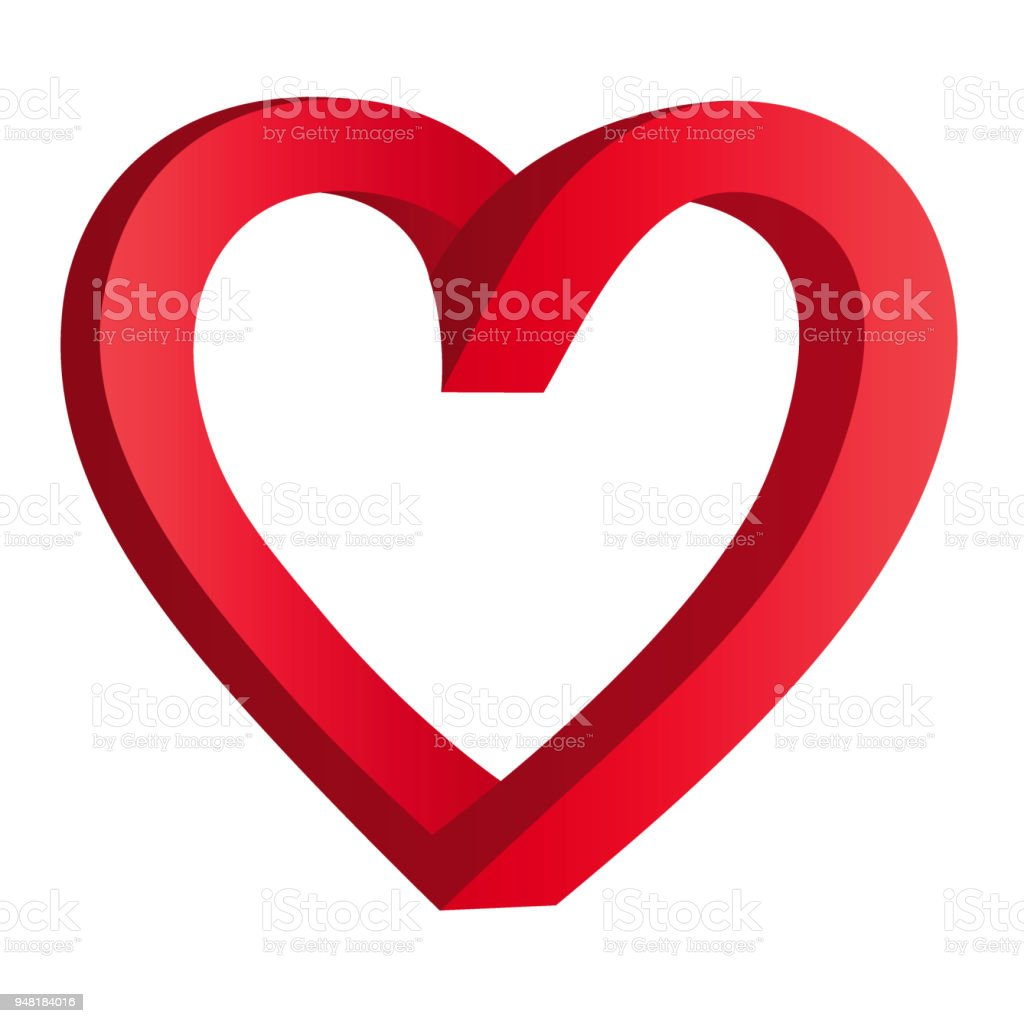 Vector illustration of an endless outline of a heart on a white background