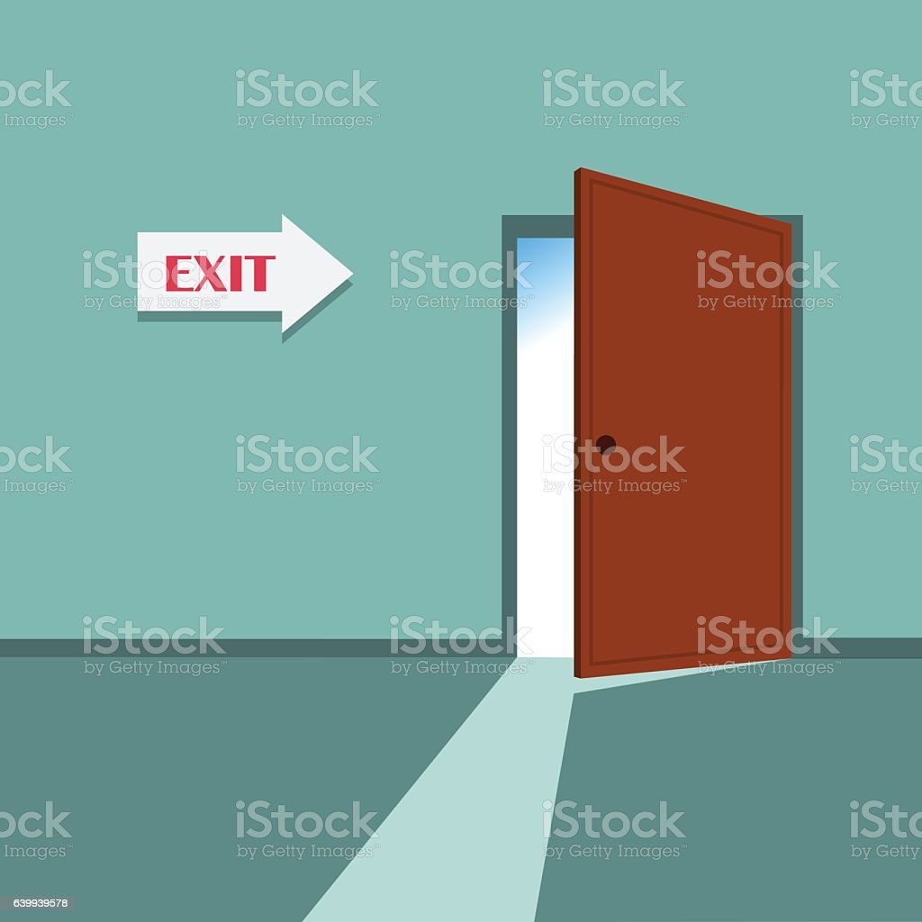 Vector Illustration of an exit door. vector art illustration