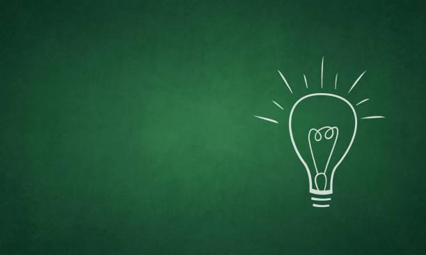 ilustrações de stock, clip art, desenhos animados e ícones de vector illustration of an ignited light bulb on a grungy green colored blackboard - idea