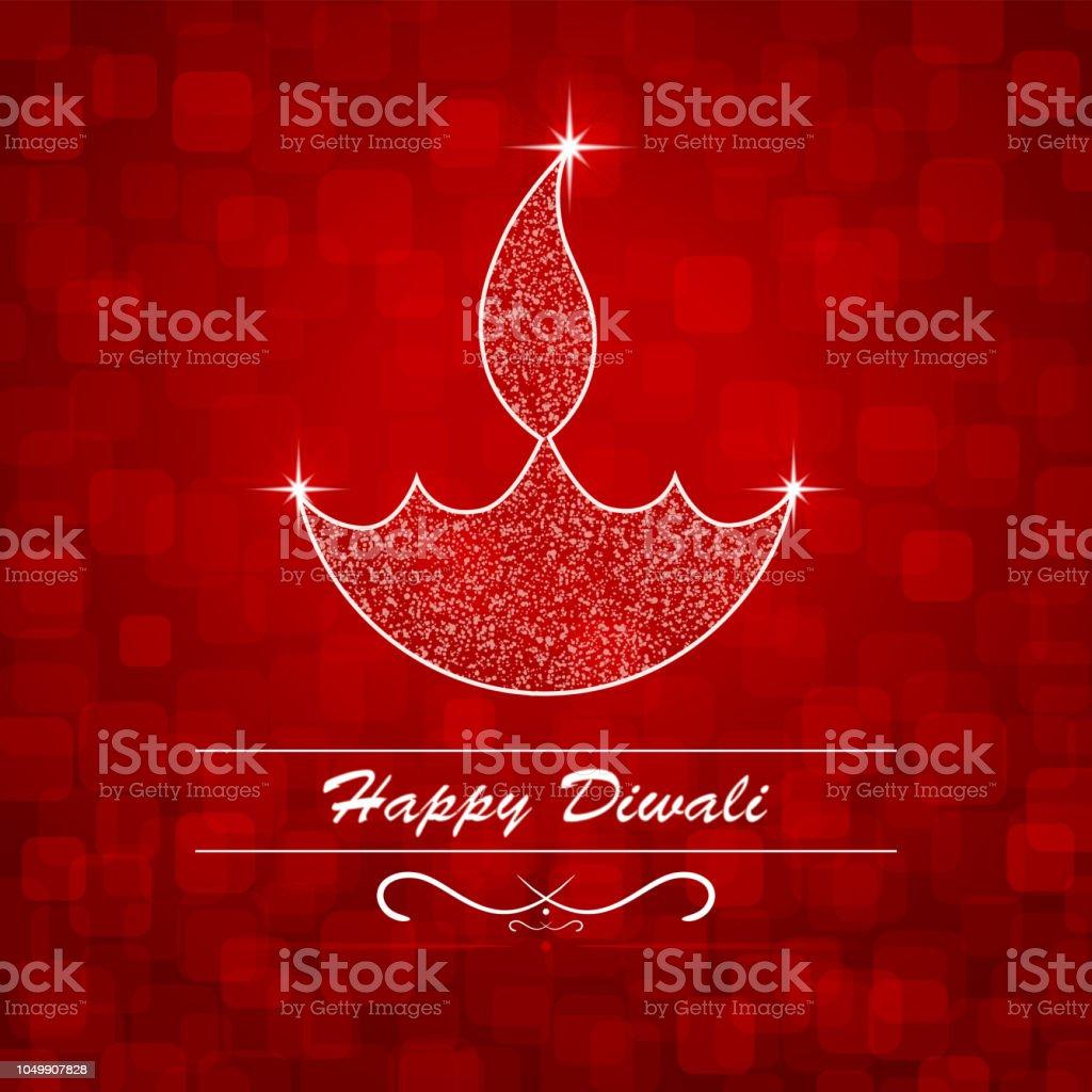 Vector Illustration Of An Illuminated Diya Happy Diwali Greetings