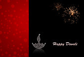 Vector illustration of an illuminated Diya. The illustration is divided into two vertical bands. The left band is a reddish maroon bright dreamy dotted background. The right band  is black colored Deepawali background with twinkle on the Deepak and flame. The Diya and flame are made up of small white dots glitter. The black sky is illuminated with sky sparklers.There is a reflection of the Diya at its base. Traditional Indian festival, Diwali is celebrated by lighting Diyas or Deepaks. Happy Diwali is written at the right of the illustration, in white.