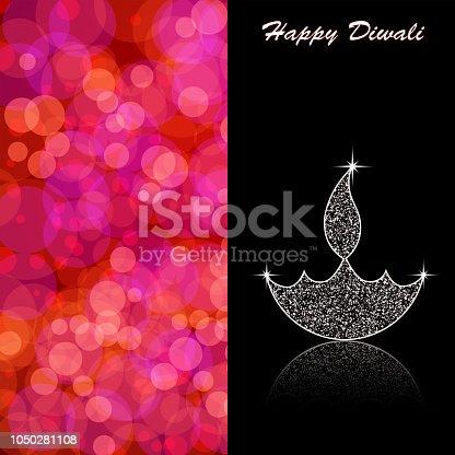 istock Vector illustration of an illuminated Diya . Happy Diwali greetings 1050281108