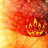 Vector illustration of an illuminated Diya with five (5) flames. A vibrant Deepawali background with sunburst stars and small glittery circles in Yellow, Orange, red, maroon. Traditional Indian festival, Diwali is celebrated by lighting Diyas or Deepaks.