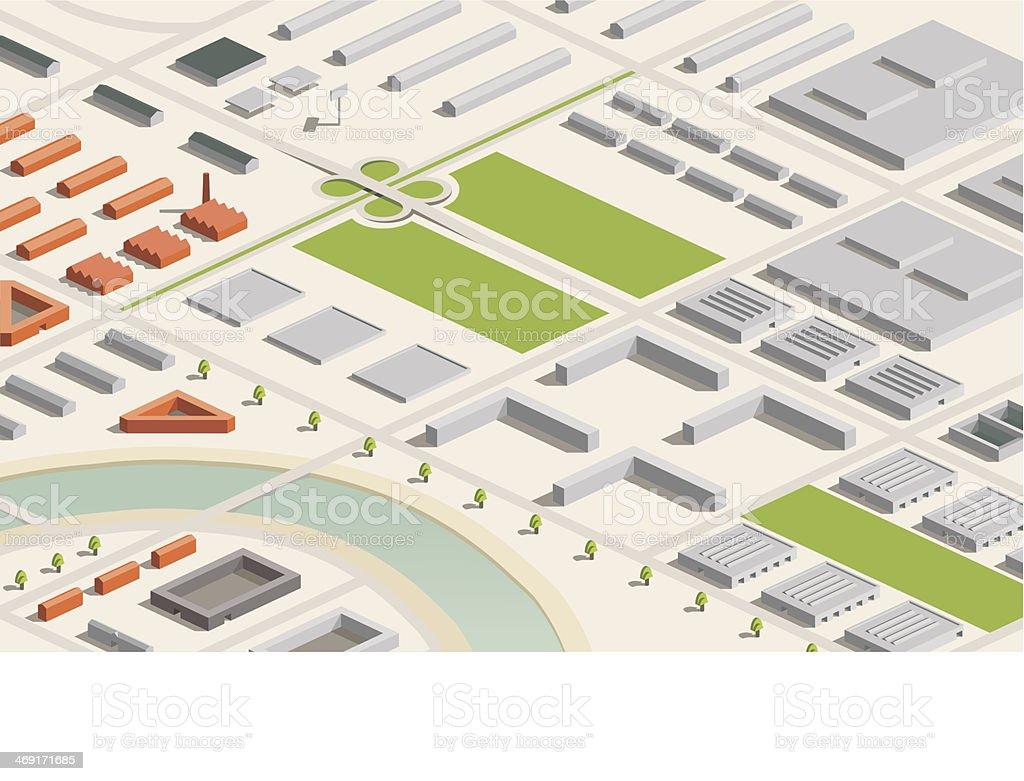 3D vector illustration of an industrial city model vector art illustration