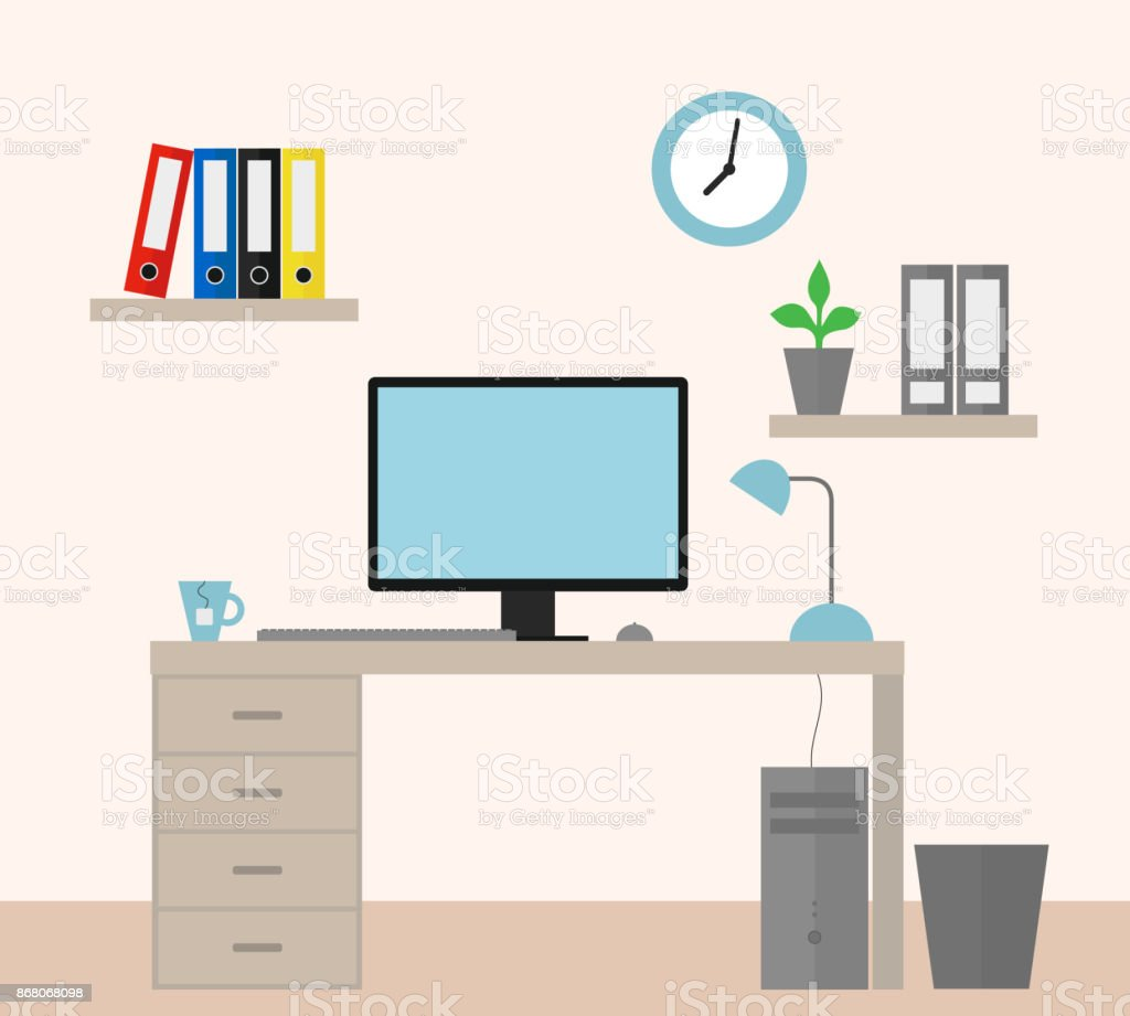 Vector illustration of an office with equipment as a job for a manager - flat design vector art illustration