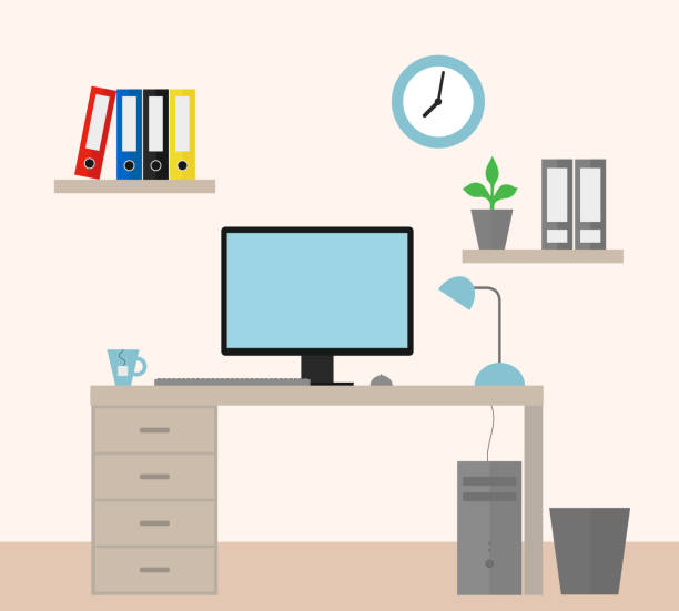 vector illustration of an office with equipment as a job for a manager - flat design - telecommuting stock illustrations, clip art, cartoons, & icons