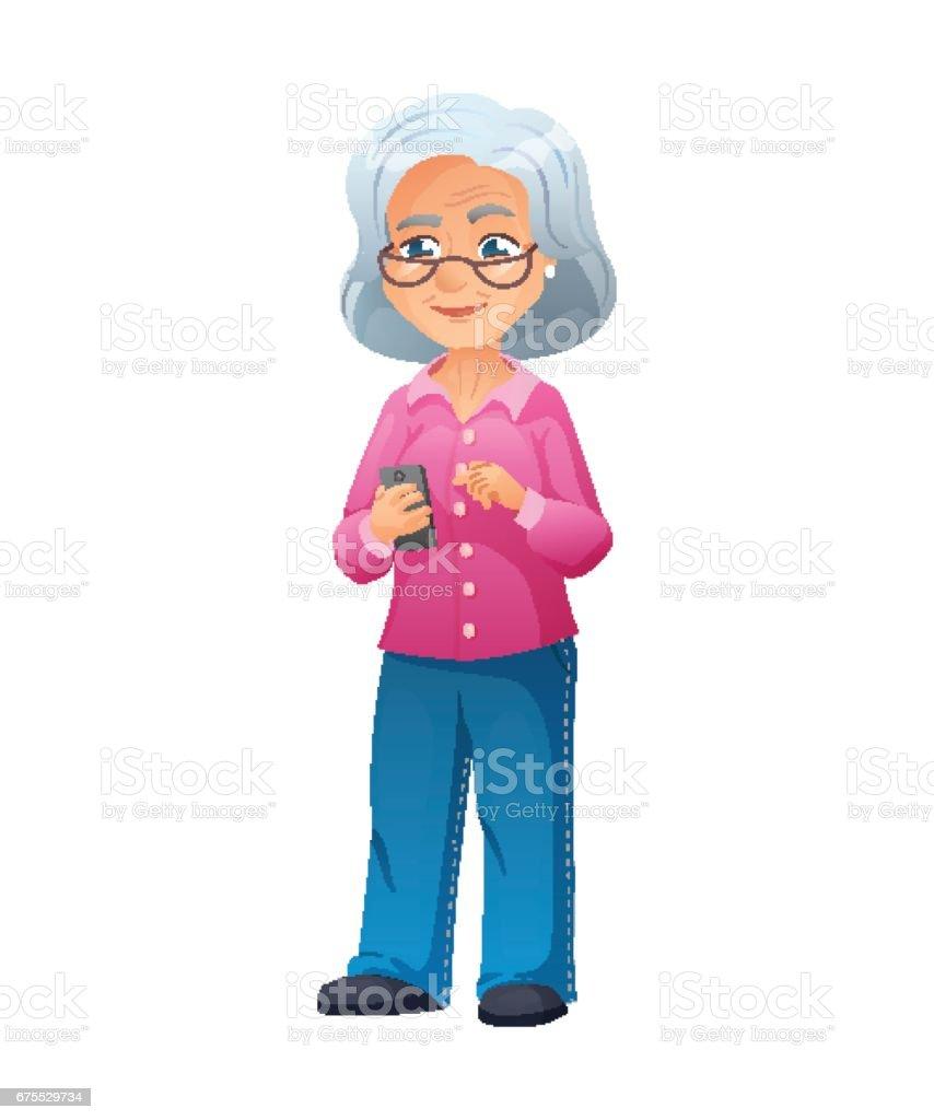 ジーンズや T シャツを着ている人メガネを掛けて古いアクティブな女性の
