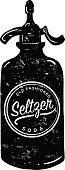 Vector illustration of an old fashioned Seltzer sparkling water bottle with label
