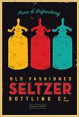 Vector illustration of an old fashioned Seltzer sparkling water bottle vintage poster design.