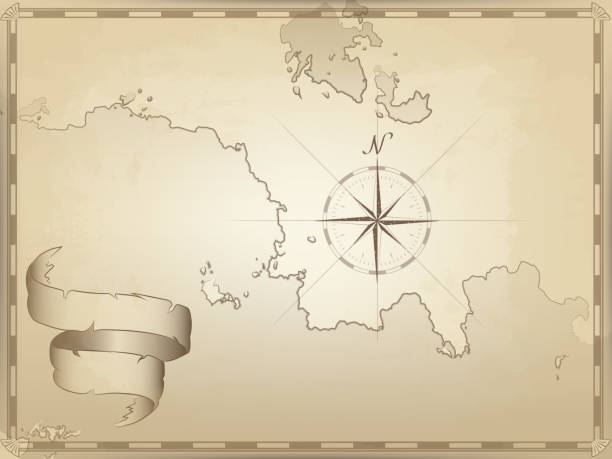 vector illustration of an old navigation chart on yellowed paper. ocean, lakes, continent and islands. ribbon wave. an image of a compass pointing to the north. the lined border - pirates stock illustrations, clip art, cartoons, & icons
