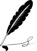 istock A vector illustration of an old quill and ink. Feather Quill and ink. A retro image of a writing with quill icon. Vintage sketch icon with black old quill on white background Vector illustration object. Vector graphic illustration. White background 1263087211