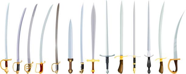 흰색 바탕에는 오래 된 무기의 벡터 그림. 빈티지 칼 힐 츠, bladed 무기의 컬러 이미지와 함께 - sword stock illustrations