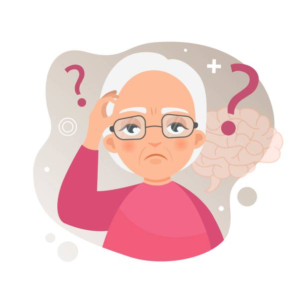 Vector illustration of an old woman with Alzheimer's disease. Vector illustration of an old woman with Alzheimer's disease. Brain disease concept. biological process stock illustrations