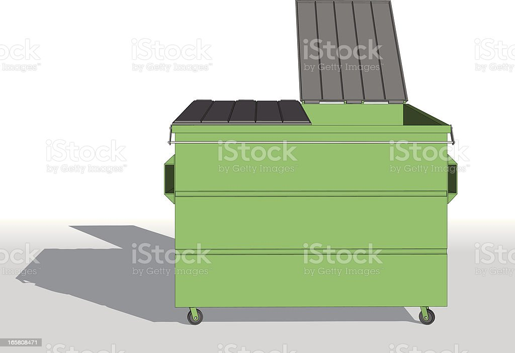 Vector illustration of an opened bright green dumpster royalty-free stock vector art