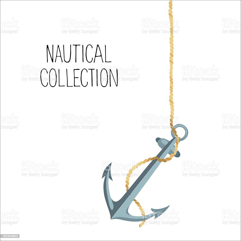 Vector illustration of anchor and rope vector art illustration