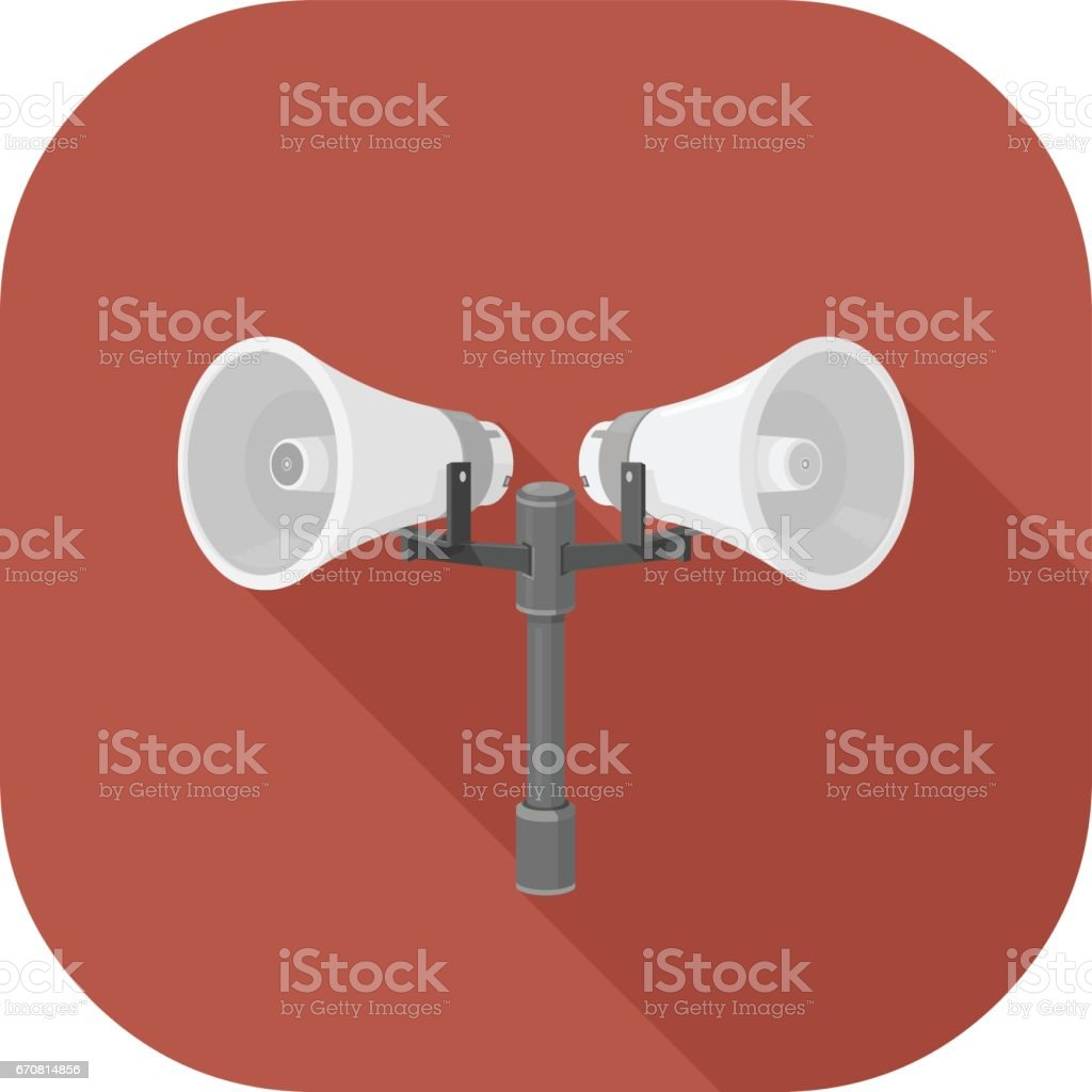 A vector illustration of Announcement Speakers Flat Icon. vector art illustration