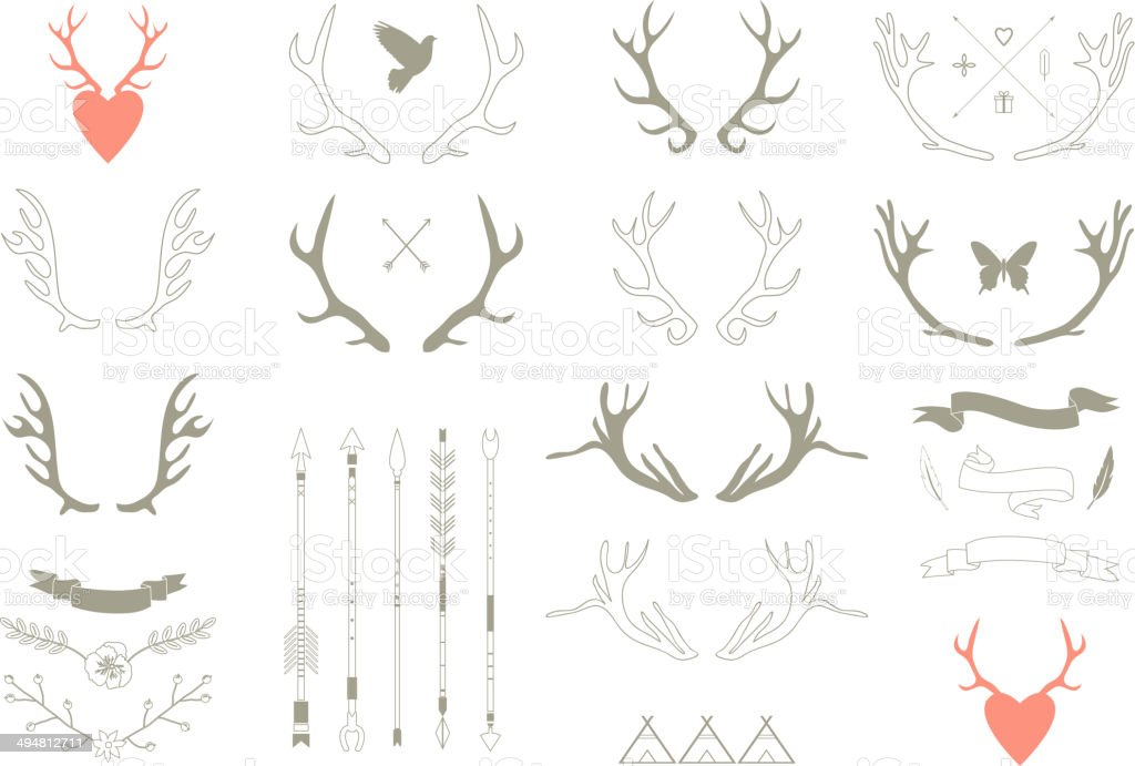 Vector illustration of antler-themed icons vector art illustration
