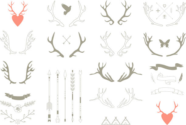 vector illustration of antler-themed icons - deer antlers stock illustrations, clip art, cartoons, & icons