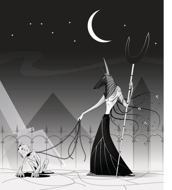 vektor-illustration von anubis und mumie. - kultfilme stock-grafiken, -clipart, -cartoons und -symbole