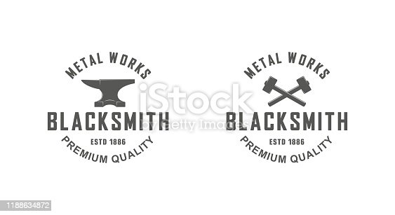Black and white illustration of a set of blacksmith logos on a white background