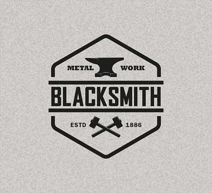 Vector illustration of anvil hammer and text on background with texture. Professional metal work