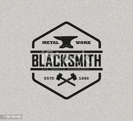 Color illustration of a blacksmith logo on a background with texture.