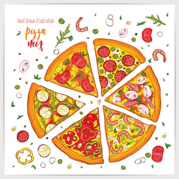 Vector illustration of appetizing pizza slices with different toppings . Colorful and tasty. vector art illustration