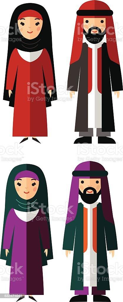 Ilustración vectorial de arab macho y hembra - ilustración de arte vectorial