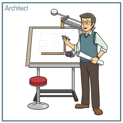 Vector illustration of architect isolated on white background. Jobs and occupations concept. Cartoon characters. Education and school kids coloring page, printable, activity, worksheet, flashcard.