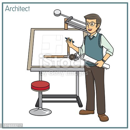 istock Vector illustration of architect isolated on white background. Jobs and occupations concept. Cartoon characters. Education and school kids coloring page, printable, activity, worksheet, flashcard. 1319333217