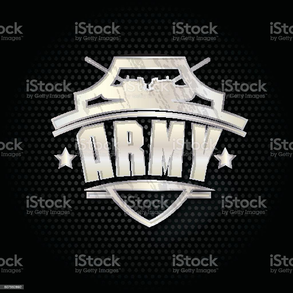 Vektorillustration Der Armee Metall Schild Auf Schwarzem Hintergrund ...