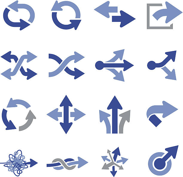 vector illustration of arrow icons - good bye stock illustrations, clip art, cartoons, & icons