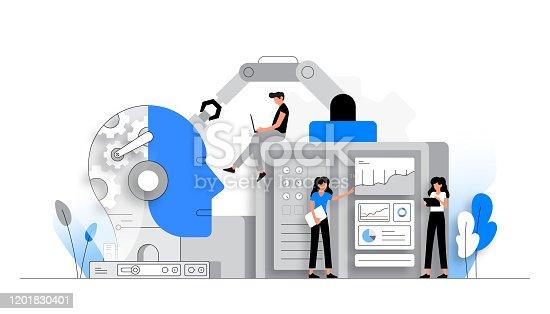 istock Vector Illustration of Artificial Intelligence Concept. Flat Modern Design for Web Page, Banner, Presentation etc. 1201830401