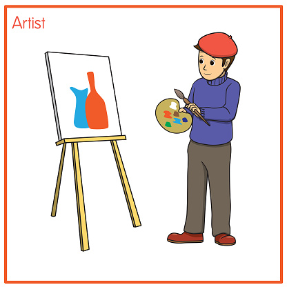 Vector illustration of artist isolated on white background. Jobs and occupations concept. Cartoon characters. Education and school kids coloring page, printable, activity, worksheet, flashcard.