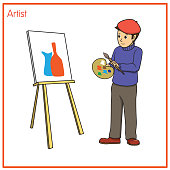 istock Vector illustration of artist isolated on white background. Jobs and occupations concept. Cartoon characters. Education and school kids coloring page, printable, activity, worksheet, flashcard. 1319333506