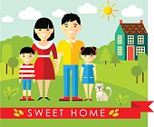 Set of pictures asian family and landscape with home concept