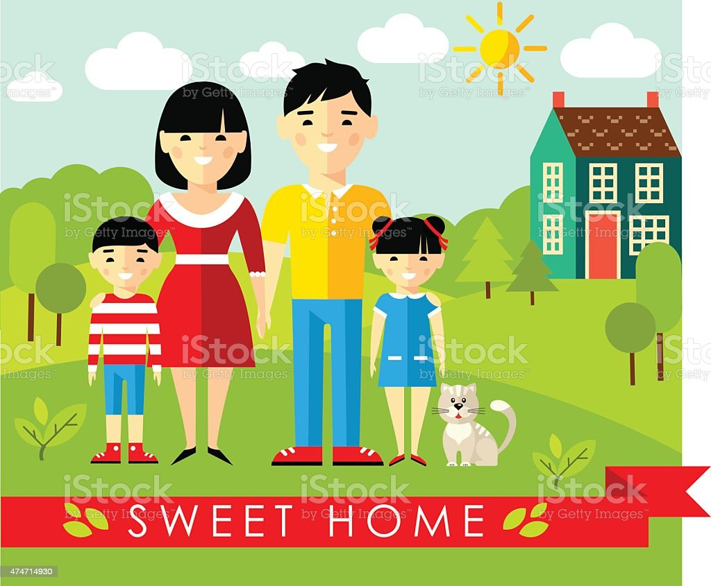 Vector illustration of asian family and house in flat style vector art illustration